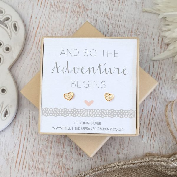 Rose Gold Vermeil Wedding Quote Earrings - 'And So The Adventure Begins'