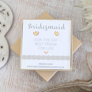 Rose Gold Vermeil Wedding Quote Earrings - 'Bridesmaid For The Day, Best Friend For Life'