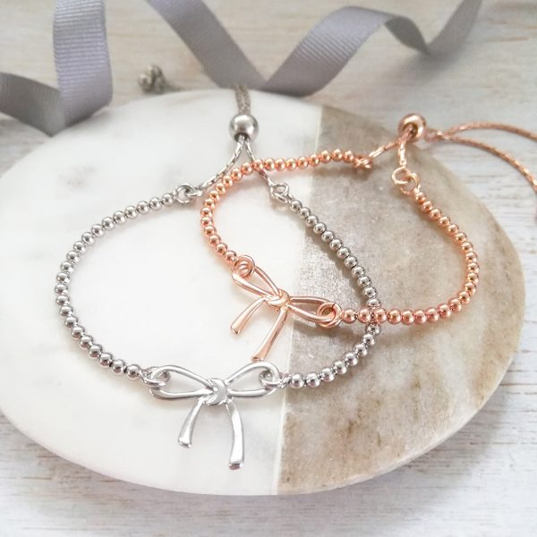 Silver & Rose Gold Bow Bracelet