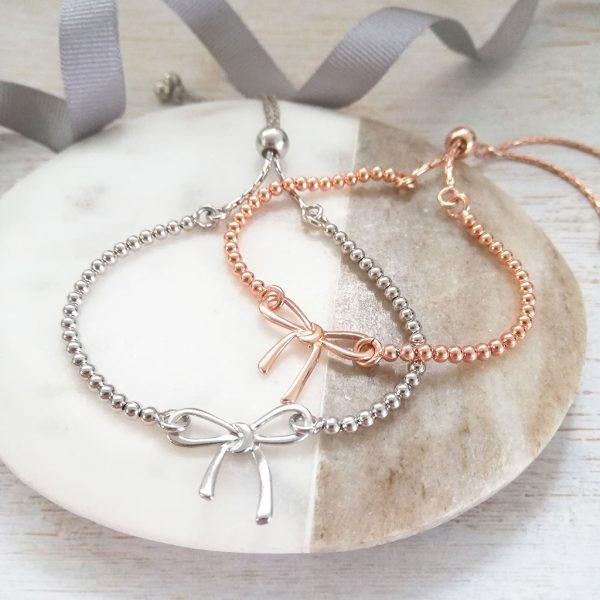 Silver & Rose Gold Bow Bracelet