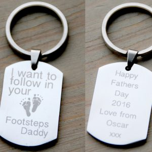 Stainless Steel Follow In Your Footsteps Keyring