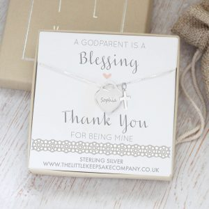 Sterling Silver 'A Godparent Is A Blessing' Engraved Quote Necklace