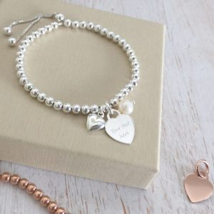 Sterling Silver Ball Slider Bracelet with Heart Charm and Pearl