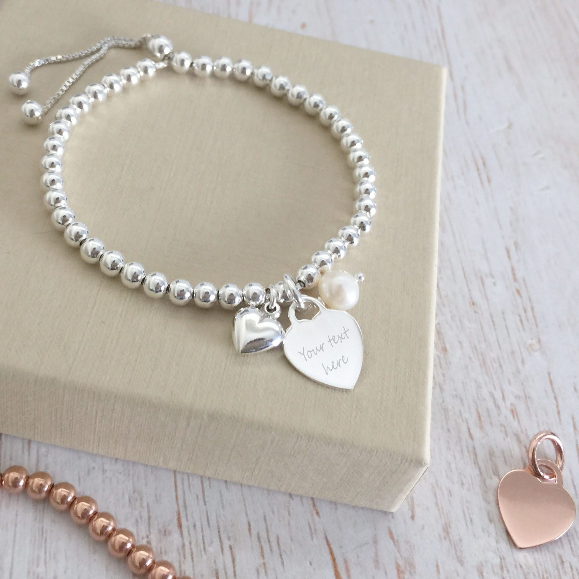Sterling Silver Bracelet with Engraving Gift for Godmother Delicate 4mm beads.