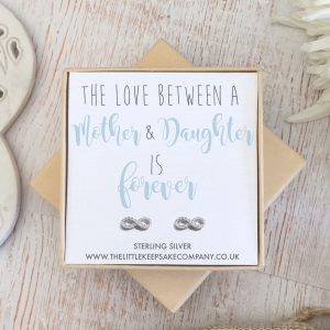 Sterling Silver & CZ Infinity Quote Earrings - 'The Love Between A Mother & Daughter Is Forever'