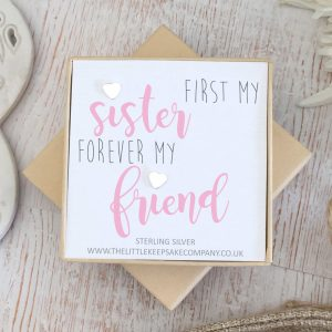 Sterling Silver 'First My Sister, Forever My Friend' Quote Earrings