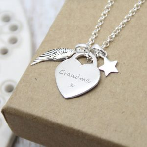 Sterling Silver 'Fly With The Angels' Memorial Necklace