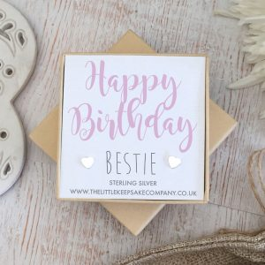 Sterling Silver 'Happy Birthday Bestie' Quote Earrings