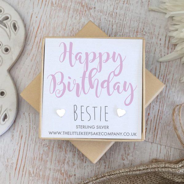 Sterling Silver 'Happy Birthday Bestie' Quote Earrings