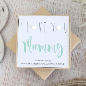 Sterling Silver 'I Love You Mummy' Quote Earrings