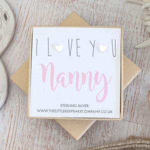 Sterling Silver 'I Love You Nanny' Quote Earrings