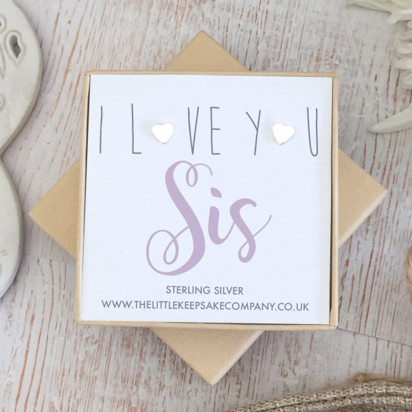 Sterling Silver 'I Love You Sis' Quote Earrings