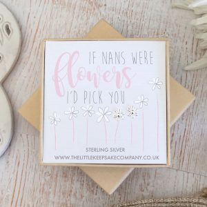 Sterling Silver 'If Nan's Were Flowers' Quote Earrings