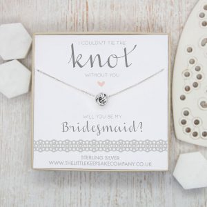 Sterling Silver Wedding Necklace - 'I Couldn't Tie The Knot Without You, Will You Be My Bridesmaid'