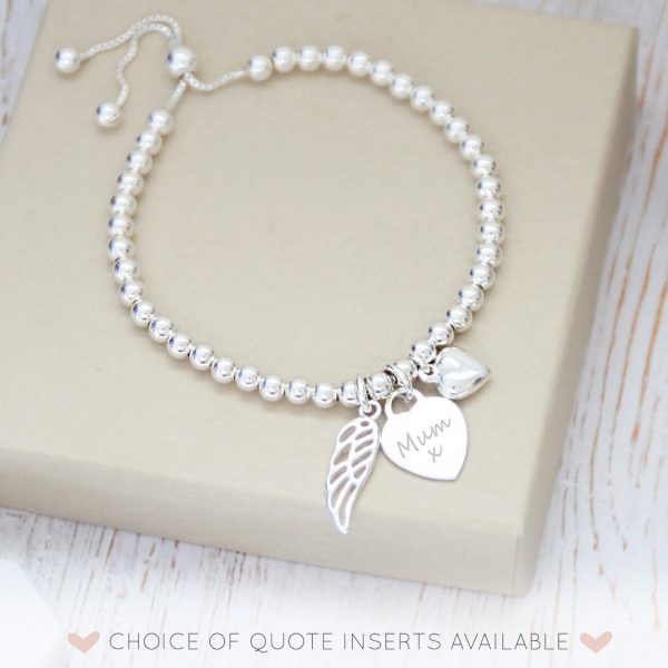 Sterling Silver Memorial Bracelet with Engraved Heart Charm