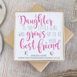 Sterling Silver Quote Earrings - 'A Daughter Is A Little Girl'