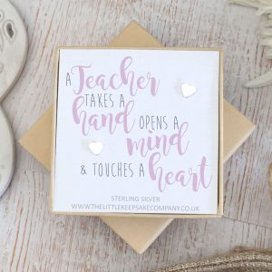 Sterling Silver Quote Earrings - 'A Teacher Takes A Hand'