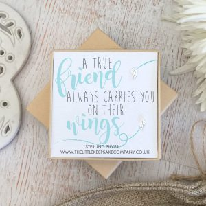 Sterling Silver Quote Earrings 'A True Friend Always Carries You On Their Wings'