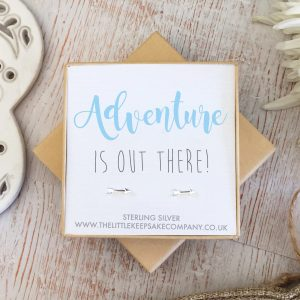 Sterling Silver Quote Earrings - 'Adventure Is Out There'