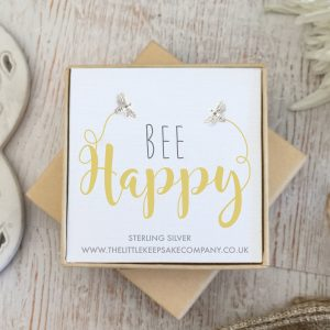 Sterling Silver Quote Earrings - 'Bee Happy'