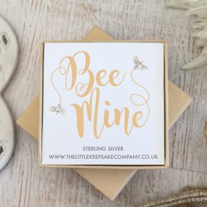 Sterling Silver Quote Earrings - 'Bee Mine'