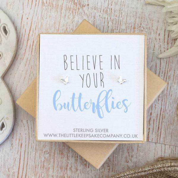 Sterling Silver Quote Earrings - 'Believe In Your Butterflies'