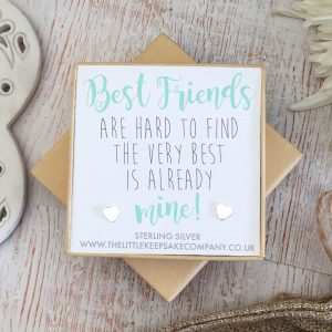 Sterling Silver Quote Earrings - 'Best Friends Are Hard To Find'
