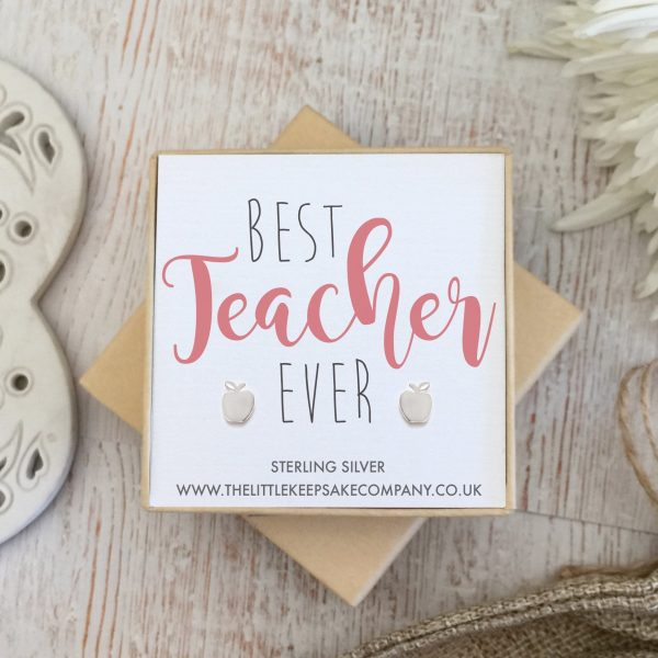 Sterling Silver Quote Earrings - 'Best Teacher Ever'
