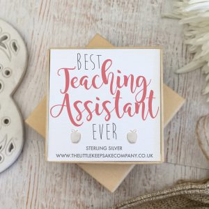 Sterling Silver Quote Earrings - 'Best Teaching Assistant Ever'