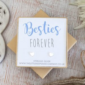 Sterling Silver Quote Earrings - 'Besties Forever'