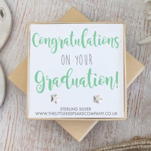 Sterling Silver Quote Earrings - 'Congratulations On Your Graduation'