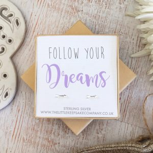 Sterling Silver Quote Earrings - 'Follow Your Dreams'