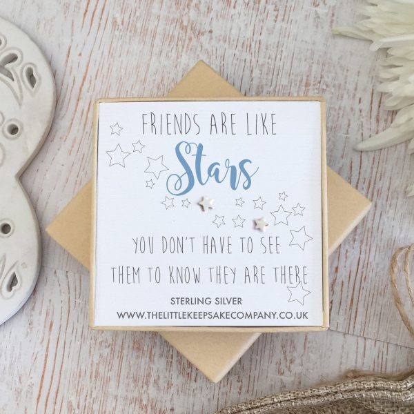 Sterling Silver Quote Earrings - 'Friends Are Like Stars, You Don't Often See Them'