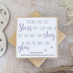 Sterling Silver Quote Earrings - 'Friends Are Like Stars'