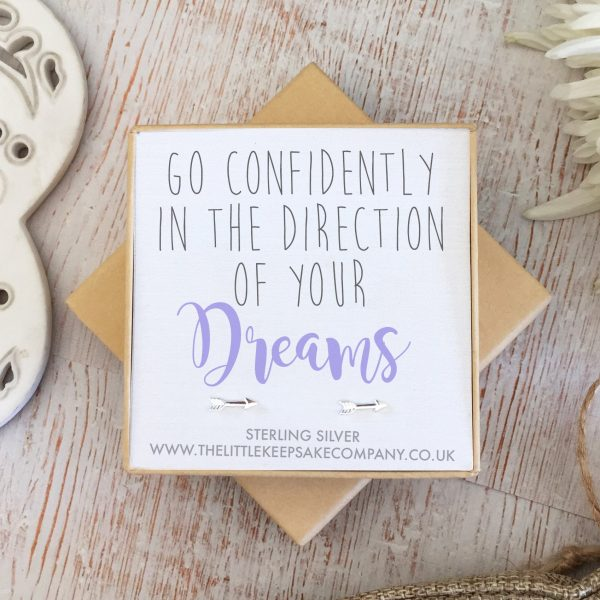 Sterling Silver Quote Earrings - 'Go Confidently In The Direction Of Your Dreams'