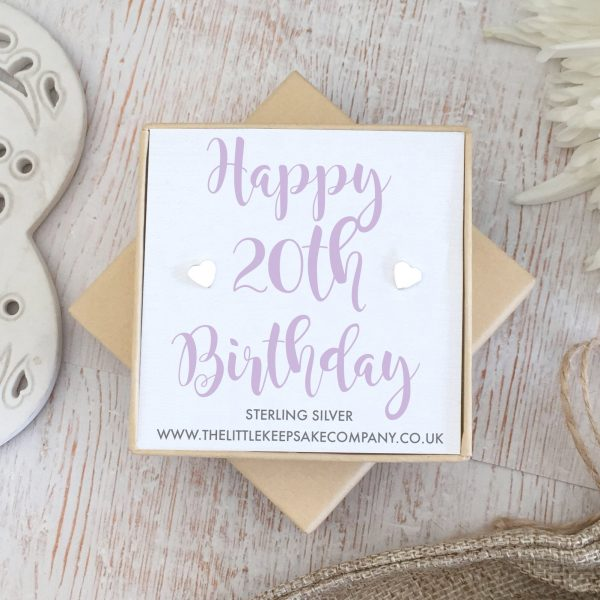Sterling Silver Quote Earrings - 'Happy 20th Birthday'