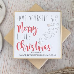 Sterling Silver Quote Earrings - 'Have Yourself A Merry Little Christmas'