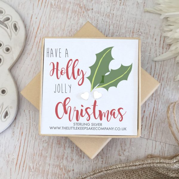 Sterling Silver Quote Earrings - 'Holly Jolly Christmas'