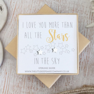 Sterling Silver Quote Earrings - 'I Love You More Than All The Stars In The Sky'