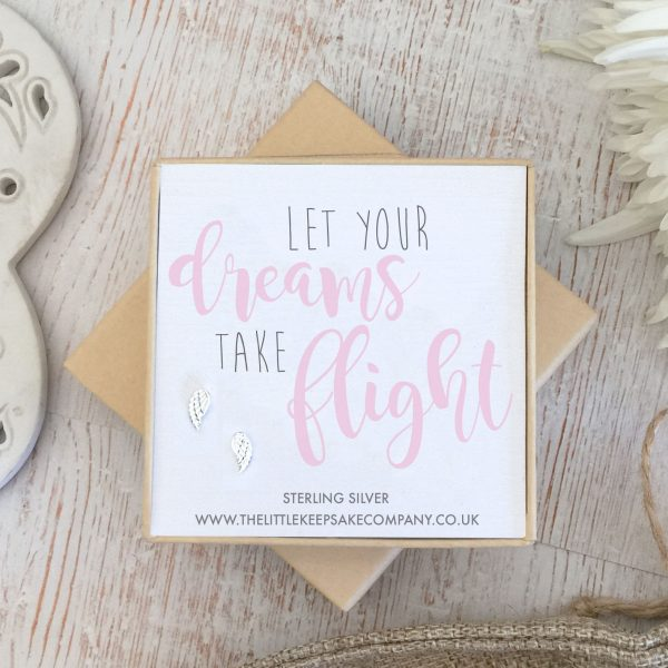 Sterling Silver Quote Earrings - 'Let Your Dreams Take Flight'