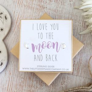 Sterling Silver Quote Earrings - 'Love You To The Moon & Back'