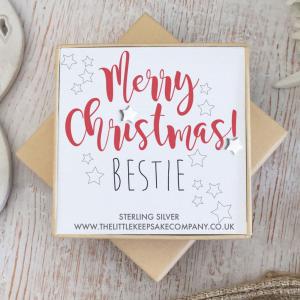 Sterling Silver Christmas Earrings - 'Merry Christmas! Bestie'