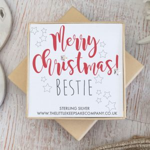 Sterling Silver Quote Earrings - 'Merry Christmas Bestie'