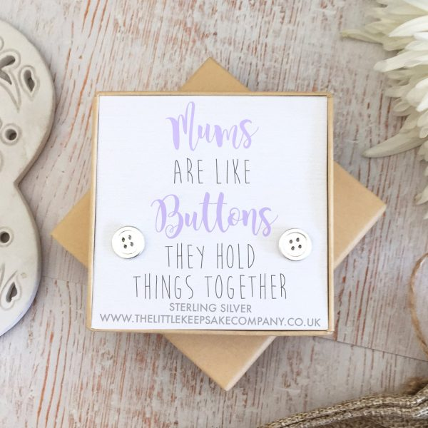 Sterling Silver Quote Earrings - 'Mums Are Like Buttons'