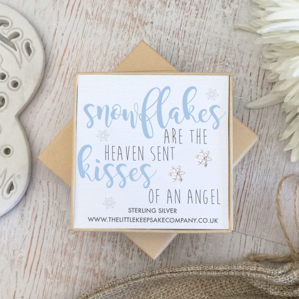 Sterling Silver Quote Earrings - 'Snowflakes Are The Heaven Sent Kisses'