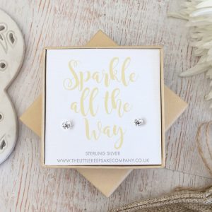 Sterling Silver Quote Earrings - 'Sparkle All The Way'