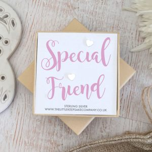 Sterling Silver Quote Earrings - 'Special Friend'