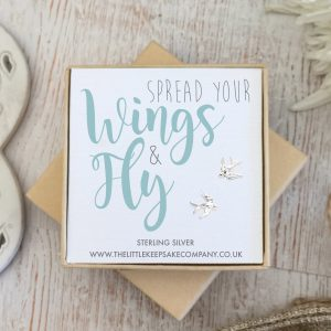 Sterling Silver Quote Earrings - 'Spread Your Wings & Fly'