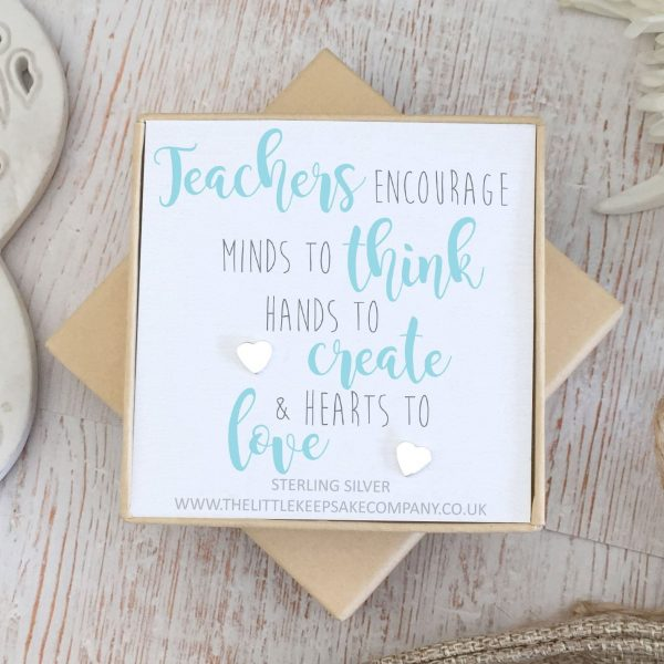 Sterling Silver Quote Earrings - 'Teachers Encourage Minds To Think'