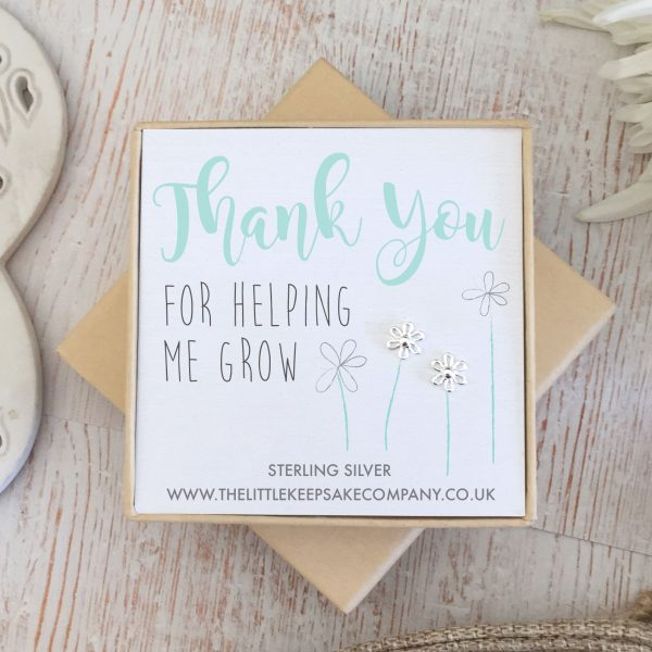 Sterling Silver Quote Earrings - 'Thank You For Helping Me Grow'